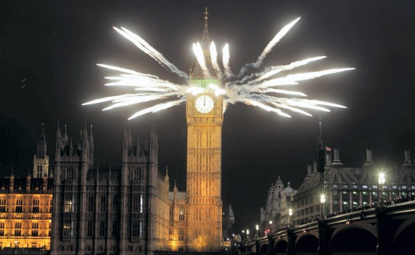Fireworks explode over London to celebrate the start of the new year. PRESS ASSOCIATION Photo. Picture date: Sunday January 1, 2012. See PA story SOCIAL NewYear. Photo credit should read: Lewis Whyld/PA Wire