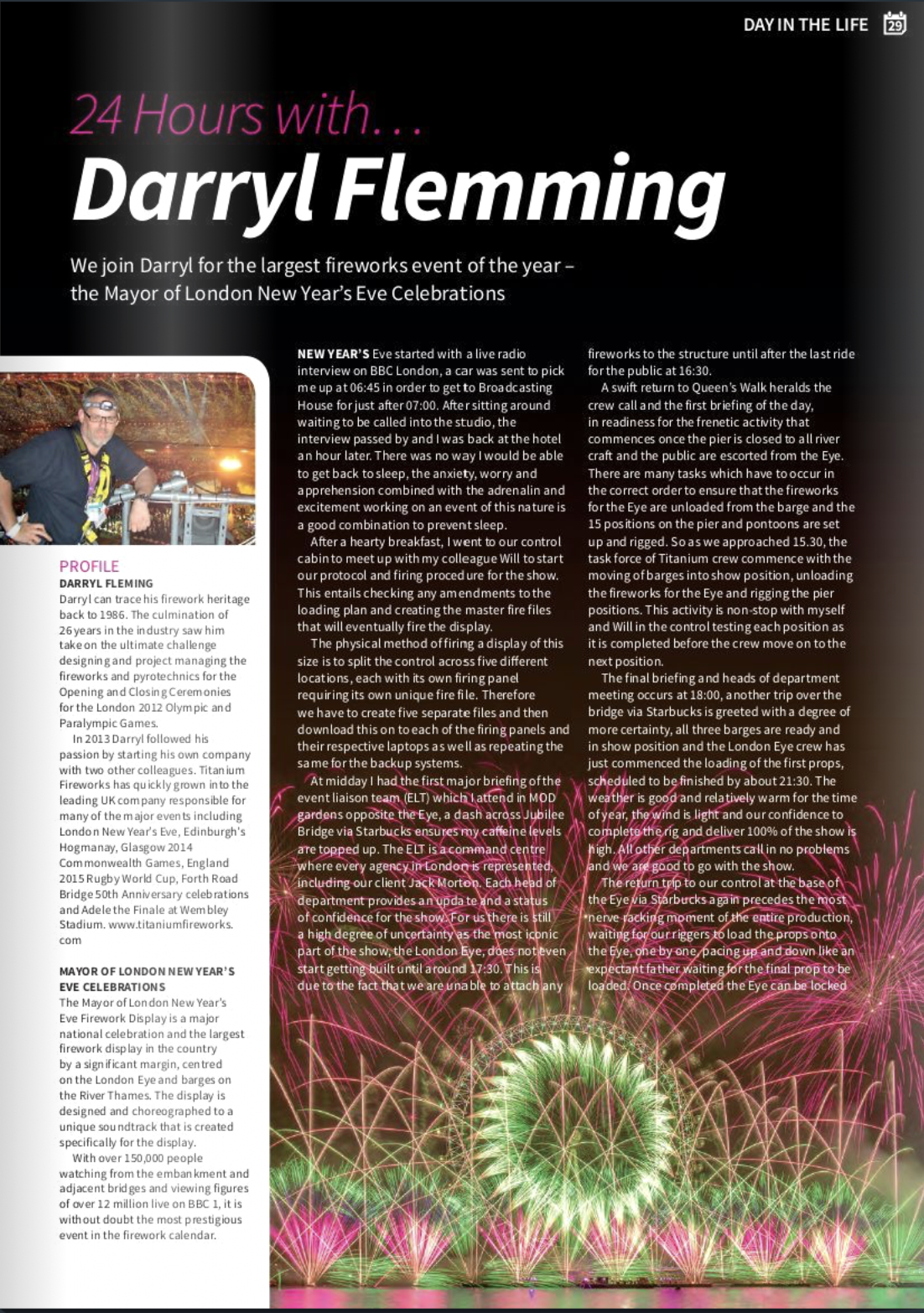 A day in the life of Darryl Fleming - Titanium Fireworks